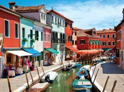 Colorful Boats and Homes Lining Canal, Burano, Venice (Colorluxe) Lakes / Rivers / Streams Jigsaw Puzzle