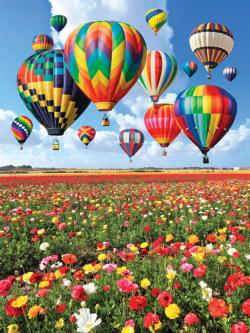 Colorful Balloons Over a Field of Flowers Flowers Jigsaw Puzzle
