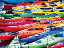 KODAK Premium Puzzles - Colorful Kayaks on the Lake Photography Jigsaw Puzzle