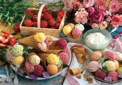 Colorluxe 1500pc - Ice Creams with Berries and Roses Food and Drink Jigsaw Puzzle