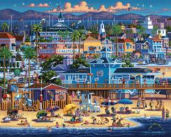 Newport Beach Folk Art Jigsaw Puzzle