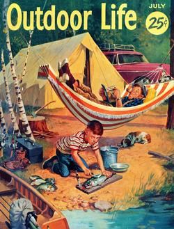 At the Campground - July 1955 (Outdoor Life) Fishing Jigsaw Puzzle