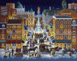 Old Montreal Folk Art Jigsaw Puzzle