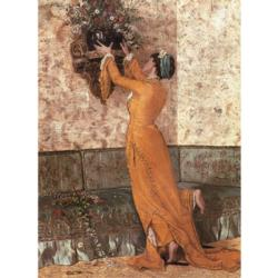 Girl with Vase Nostalgic / Retro Jigsaw Puzzle