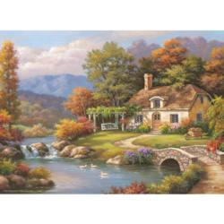 Cottage Stream Lakes / Rivers / Streams Jigsaw Puzzle