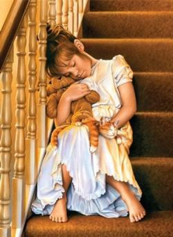 Asleep on the Stairs Domestic Scene Jigsaw Puzzle