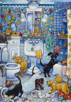 More Bathroom Pups Cartoons Jigsaw Puzzle