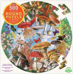 Mushrooms and Butterflies Butterflies and Insects Round Jigsaw Puzzle