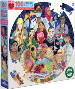 International Women's Day People Round Jigsaw Puzzle