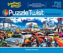 Roadside Americana Cars Panoramic Puzzle