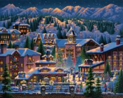 Rocky Mountain Christmas Snow Jigsaw Puzzle