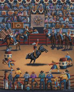 Rodeo Days Folk Art Jigsaw Puzzle