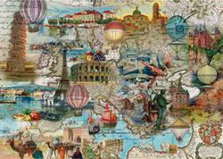 Hot-air Balloon Flight through Europe Maps Jigsaw Puzzle