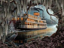 Night on the River Lakes / Rivers / Streams Jigsaw Puzzle