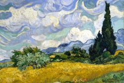 Wheat Field with Cypresses by Van Gogh People