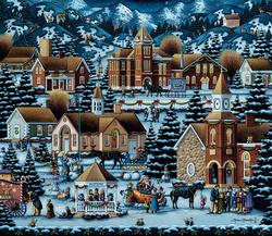 Alpine Christmas Folk Art Jigsaw Puzzle