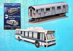 MTA NYC Subway Car and Bus New York 3D Puzzle