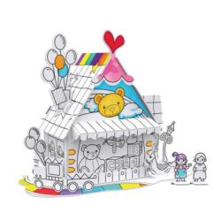 Toy House 3D Coloring Puzzle with Pens Carnival Coloring Puzzle