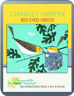 Red-Eyed Vireos (Mini) Contemporary & Modern Art Miniature
