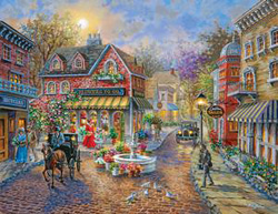 Cobblestone Village Street Scene Jigsaw Puzzle