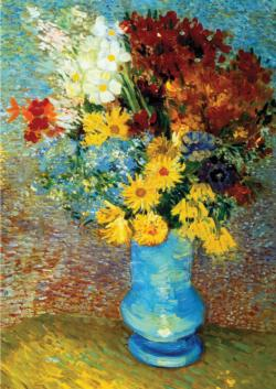 Flowers in Blue Vase Contemporary & Modern Art Jigsaw Puzzle