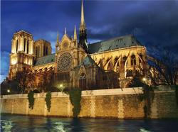 Notre Dame at Night Travel Jigsaw Puzzle