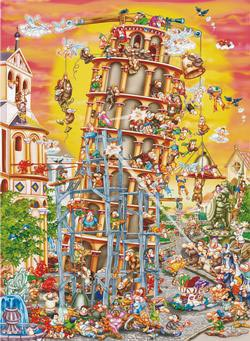 Building the Tower of Pisa (Cartoon Collection) Leaning Tower of Pisa Jigsaw Puzzle