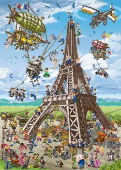 Building the Eiffel Tower (Cartoon) Landmarks Jigsaw Puzzle