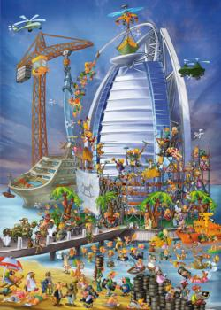 Building the Burj Al Arab (Cartoon) Landmarks Jigsaw Puzzle