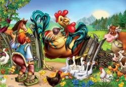 One Giant Rooster Farm Animals Jigsaw Puzzle
