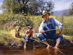 Fishing with Grandpa People Jigsaw Puzzle