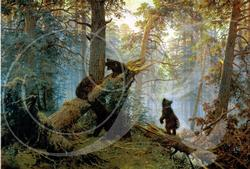 Morning in a Pine Forest Bears Wooden Jigsaw Puzzle