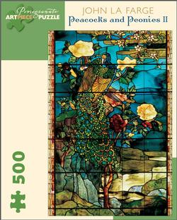 Peacocks and Peonies II Contemporary & Modern Art Jigsaw Puzzle