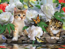 Among the Peonies Cats Jigsaw Puzzle