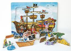 Flipzles Pirate Ship Puzzle Mermaids Wooden Jigsaw Puzzle