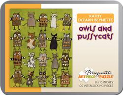 Owls and Pussycats (Mini) Contemporary & Modern Art Miniature