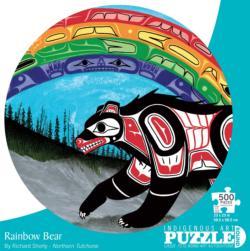 Rainbow Bear Native American Round Jigsaw Puzzle