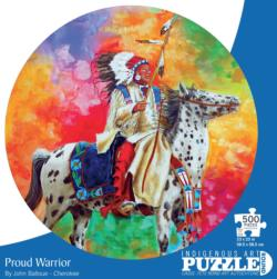 Proud Warrior Native American Round Jigsaw Puzzle