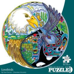 Lovebirds Native American Round Jigsaw Puzzle