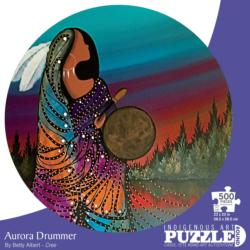 Aurora Drummer Native American Round Jigsaw Puzzle
