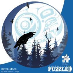Raven Moon Birds Round Jigsaw Puzzle