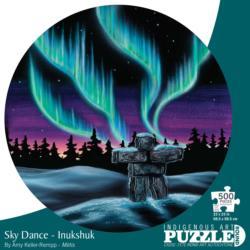 Sky Dance - Inukshuk Native American Round Jigsaw Puzzle