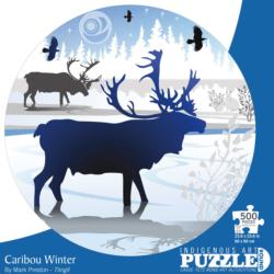 Caribou Winter Winter Round Jigsaw Puzzle