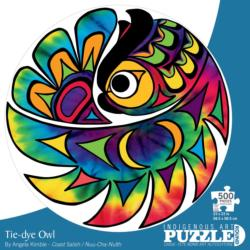 Tie-dye Owl Abstract Round Jigsaw Puzzle