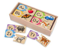 Self-Correcting Alphabet Letter Puzzles Educational Wooden Jigsaw Puzzle