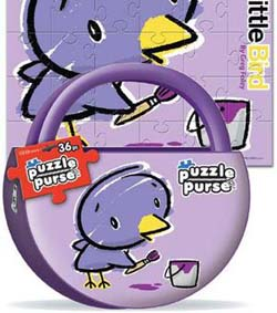 Puzzle Purse - Purple Bird Cartoons Jigsaw Puzzle