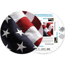The American Flag Patriotic Round Jigsaw Puzzle