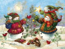 Holiday Sparkle Snowman Jigsaw Puzzle