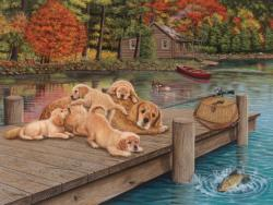 Lazy Day on the Dock Dogs Large Piece
