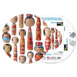 Kokeshi Collage Round Jigsaw Puzzle